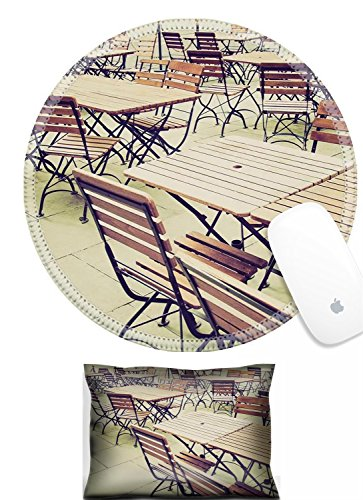 Luxlady Mouse Wrist Rest and Round Mousepad Set, 2pc Wrist Support Vintage looking Tables and chairs of a dehors alfresco bar restaurant pub IMAGE: 27620877 -