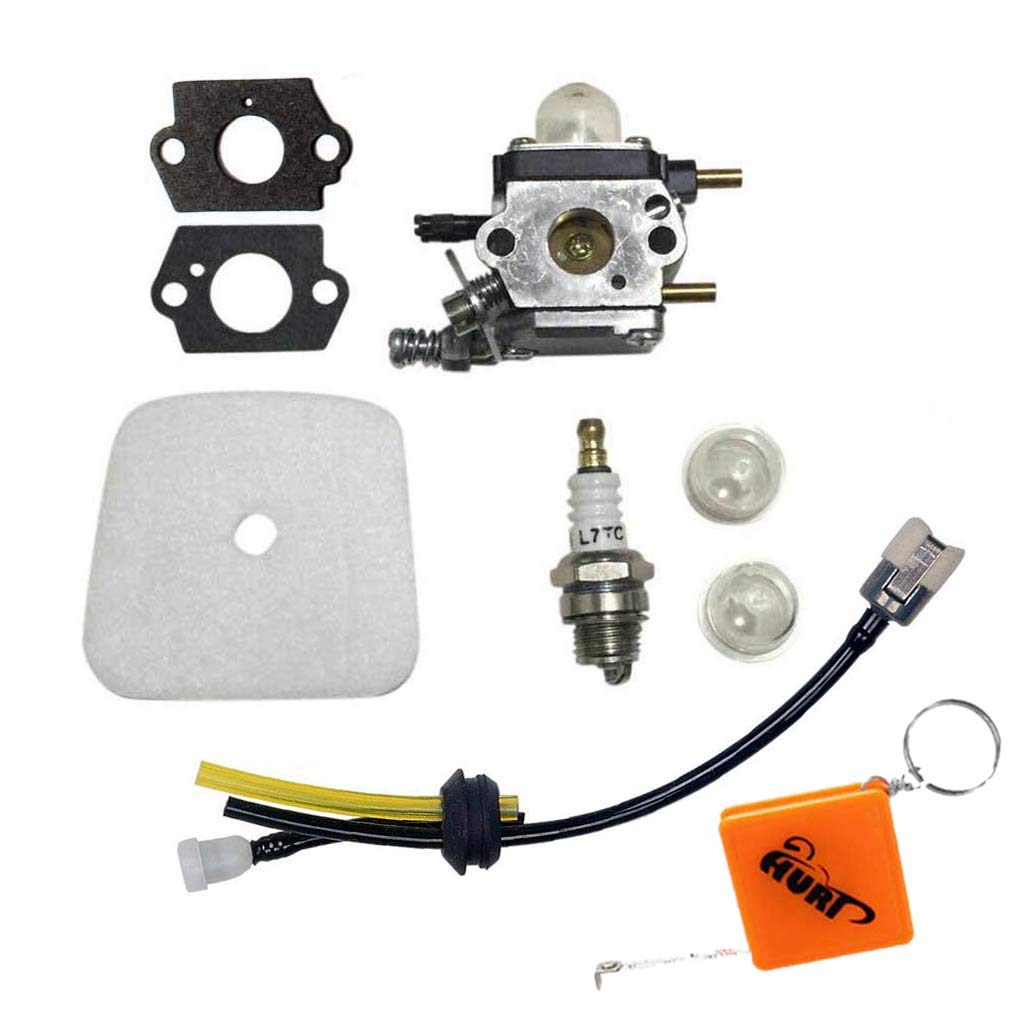 HURI C1U-K54A Carburetor with Gasket Repower Kit with Spark Plug for Echo HC1500 TC210 TC210i TC2100 2 Cycle Mantis Tiller 7222 7222E 7222M 7225 7230 7240 7920 7924 Cultivator Carburettor