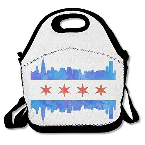 Chicago Illinois Flag Waterproof Lunch Bag Printing Lunch Tote Bag ()