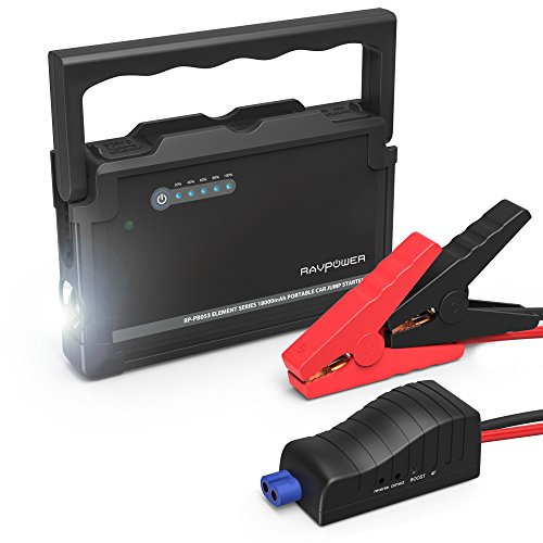 RAVPower Car Jump Starter 600A Peak 18000mAh 12V (Up to 6L Gas or 3L Diesel Engine) External Battery Pack with Dual iSmart USB Ports Built-in LED Flashlight Car Battery Booster (Black) by RAVPower