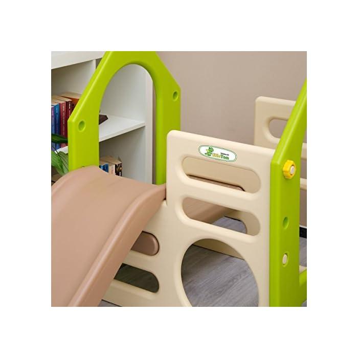 51dA0QDyteL RECREO: la casa de juegos de LittleTom consiste en un tobogán, un columpio y dos paredes de escalada. Los colores neutros son adecuados para niños y niñas de edad comprendida entre 1 y los 4 años PARA EL JARDÍN Y EL INTERIOR: nuestro centro de actividades de plástico duradero puede ser colocado en la sala de juegos, guardería, dormitorio, sala de estar o incluso permanecer unos días en el jardín, terraza, balcón - es resistente a la intemperie ALTA CALIDAD: Medidas generales: aprox. 135x155x104cm, Tobogán: aprox. 92x29cm, Asiento del columpio aprox. 18x30cm, Peso soportado: max. 30kg, Material: plástico (fácil de limpiar con un paño húmedo). El tobogán puede montarse a derecha o izquierda