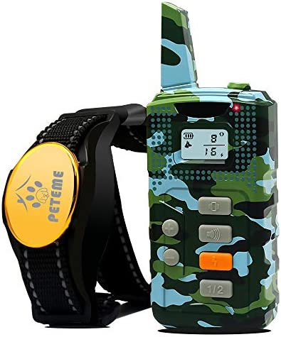 Peteme Shock Collar for Dogs, Dog Training Shock Collar Rechargeable with Beep Vibration Shock,100 Waterproof, 1200 ft Remote Trainer Range Collar for Small Medium Large Dogs.
