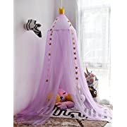 Hoomall Mosquito Net Bed Canopy Round Lace Dome Princess Play Tent Bedding for Baby Kids Children's Room 240cm (Purple)