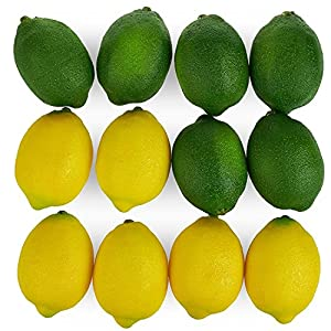 Kesoto 12pcs Yellow & Green Artificial Lifelike Simulation Lemon Fake Fruit Home Kitchen Cabinet Decoration, 2.8 x 2 Inches 27