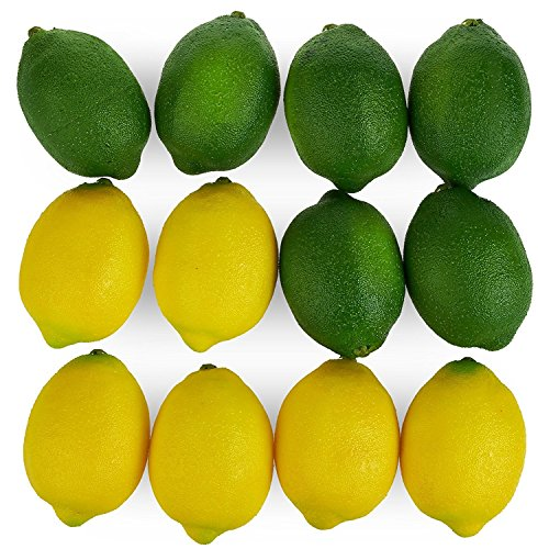 Kesoto 12pcs Yellow & Green Artificial Lifelike Simulation Lemon Fake Fruit Home Kitchen Cabinet Decoration, 2.8 x 2 Inches by Kesoto