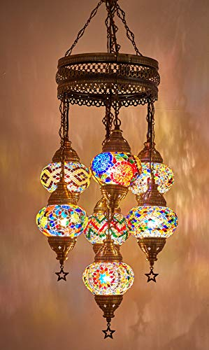Customizable Globes DEMMEX 2019 Hard-Wired or PLUGIN 1,3,5,7,9 Globes Chandelier Lights Turkish Moroccan Mosaic Ceiling Hanging Pendant Chandelier Light Lighting 7 Globes Hardwired