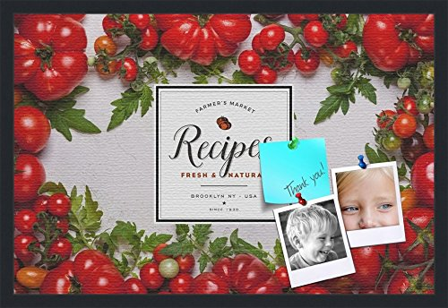 PinPix decorative pin cork bulletin board made from canvas, Recipe Board with Heirloom Tomatoes 30x20 Inches (Completed Size) and framed in Satin Black (PinPix-Group-36) by PinPix