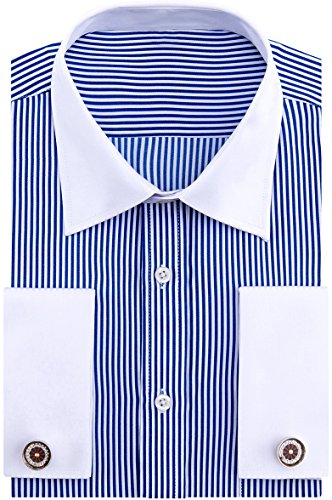 - Alimens & Gentle French Cuff Regular Fit Contrast White Collar Dress Shirts,Blue Stripe,15.5