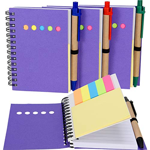 Maxdot 4 Pieces Kraft Paper Steno Pocket Business Notebook Spiral Lined Notepad Set with Pen in Holder, Sticky Colored Notes Page Marker Tabs (Purple Cover)