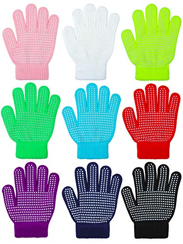Motarto 9 Pairs Kids Anti-skid Magic Gloves Winter Warm Stretchy Knit Gloves for Boys or Girls (Mixed Color A, 6-12 Years)