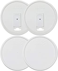 iLIDS Mason Jar Drink and Storage Lids, Wide Mouth, White, Pack of 4