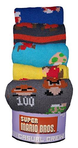 Super Mario Bros 5 Pair Casual Crew - Mario Socks