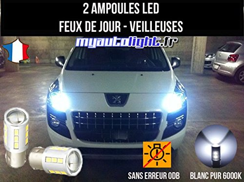 Pack de faros de led, color blanco xenón para Peugeot: Amazon.es: Coche y moto