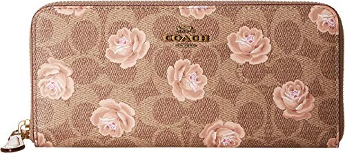 COACH Women's Accordion Zip Wallet In Signature Rose Print B4/Tan One Size