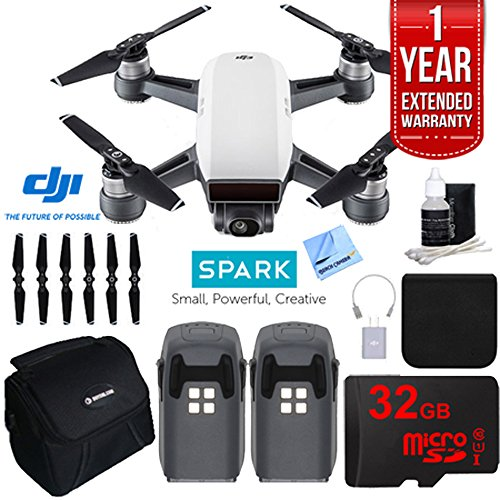 DJI SPARK Intelligent Quadcopter Drone Essentials Bundle (Alpine White) With DJI Spare Battery, Cleaning Kit, 32GB High Speed Card, Custom Case And One Year Warranty Extension by Beach Camera