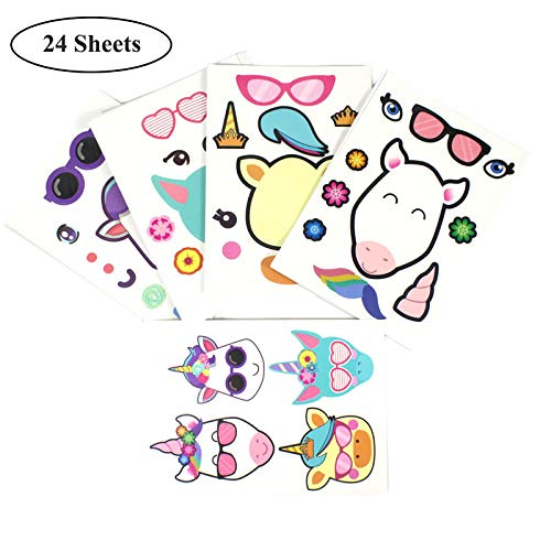 Great Party Games/  MOAMG Unicorn Sticker 24 Sheets Rainbow Unicorn Sticker Sheets Theme Party Decorations Supplies Favors Fun Craft Project for Children 3