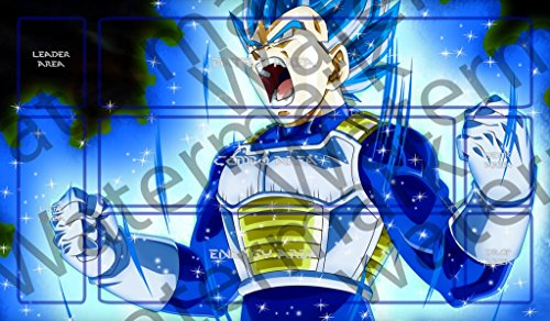 Masters of trade Dragonball Super Ultra Blue Evolution Vegeta Magette DBZ DBS TCG CCG playmat gamemat 24'' wide 14'' tall for trading card game smooth cloth surface rubber base by Masters of trade