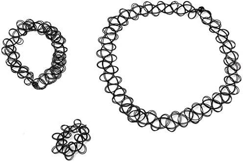 f91e41618ef76 3er Set Henna Tattoo Halsband Elastisch Halskette Armband Ring Fußkette  Schmuckset Choker Schmuck Kette