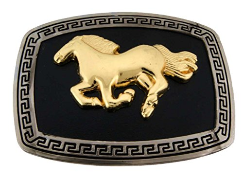 Running Horse Belt Buckle Gold Black Square Unisex Western Us Style New Fashion from Generic/Buckleszone