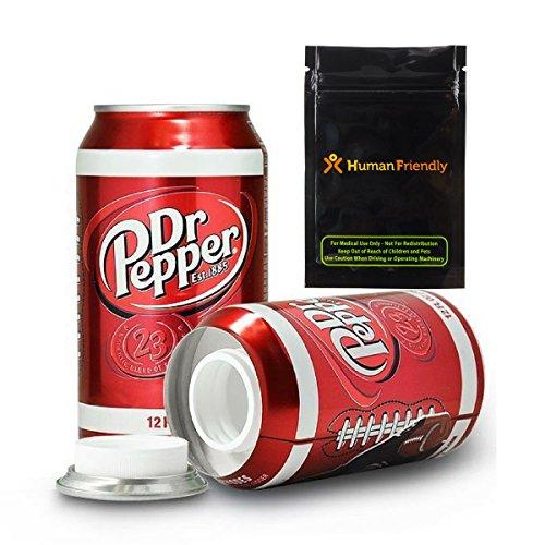 Dr Pepper Diversion Safe Stash Can 12 oz w HumanFriendly Smell Proof Bag (Soda Can Stash)