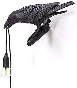 WHCQ Bird Lamp Table Lamp Playing Raven/Applique, Design Raven Bird Nordic LED Table Lamp Mordern Art Deco Table Lamps Bedside Decor for Living Room Decoration Raven Desk Lamp
