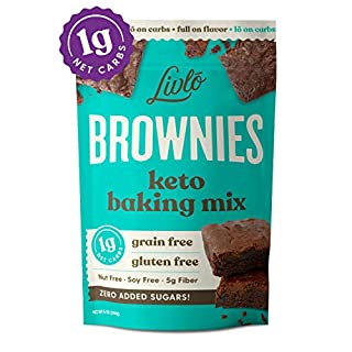 Livlo Keto Brownie Baking Mix - 1g Net Carb Dessert - Sugar Free & Gluten Free Keto Sweets & Treats - Nut Free, Low Carb, Diabetic Friendly Snack - Fast, Easy & Delicious - 12 servings