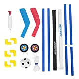 Soccer Hockey Goal Set, 2 in 1 Sports Training Set Portable Mini Hockey Goal Soccer Net with Ball and Pump for Kids Youth