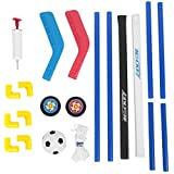 VGEBY Soccer Hockey Goal Set, 2 In 1 Sports Training Set Portable Mini Hockey Goal Soccer Net with Ball and Pump for Kids Youth