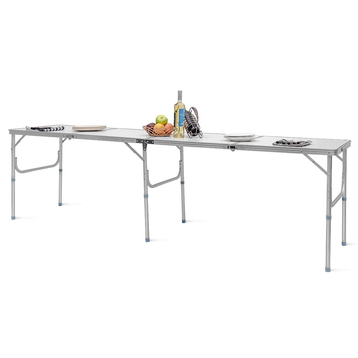 Giantex 8FT Folding Portable Aluminum Table with Carrying Handle, Waterproof Anti-Slip Foot Design, Easy Setup for Indoor, Outdoor, Picnic, Party Camping by Giantex