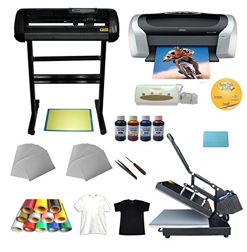 15x15inch Flat Heat Press 24inch Cutter Plotter Epson Printer Injket Paper Vinyl T-shirt CD Transfer Start-up Kit