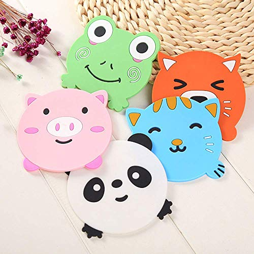 NIL KANTH – 5PCS Silicone Rubber Coaster Colorful Animal Coaster Cup Mat for Drinks Durable Non-Slip Hot Pads Protection Furniture Damage for Home and Kitchen Use. Price & Reviews