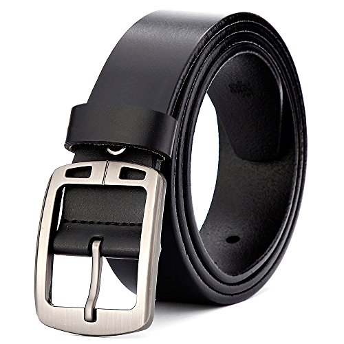 XIANGUO Men's Soft Belt Cow Genuine Leather Belt with Vintage Pin Buckle for Jeans/Dresses/ Pants