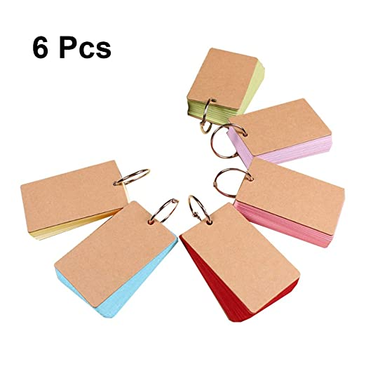 STOBOK Tarjetas de estudio con anillo Kraft Paper Flash Card Multi ...