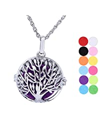 Aromatherapy Essential Oil Diffuser Necklace Tree of Life Pendant Locket Jewelry with 12 Refill Pads