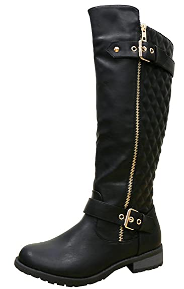 Amazon.com   Cambridge Select Women's Quilted Side Zip Knee High ... : quilted long boots - Adamdwight.com