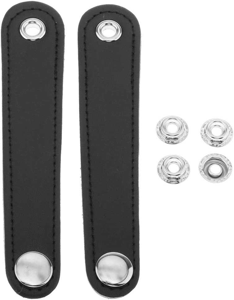 Black H HILABEE 2pcs Black Double Layer PU Leather Accordion Bellows Straps with Extension 4 Buckle for Accordion Fixation 10.2cm