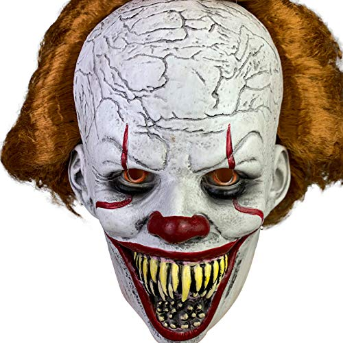 Pennywise Halloween Mask (Jacos it clown mask Pennywise mask halloween for scary,sharp teeth protruding,thick)