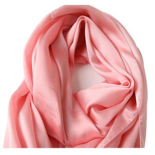 0d95bfe45 ... Bellonesc Silk Scarf 100% silk Long Lightweight Sunscreen Shawls for  Women (light pink) ...