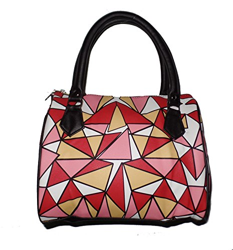 Faux Leather Small Bowler Handbag Purse with Nylon Lining and Zip Top Closure (Pink Red Yellow Geometric)