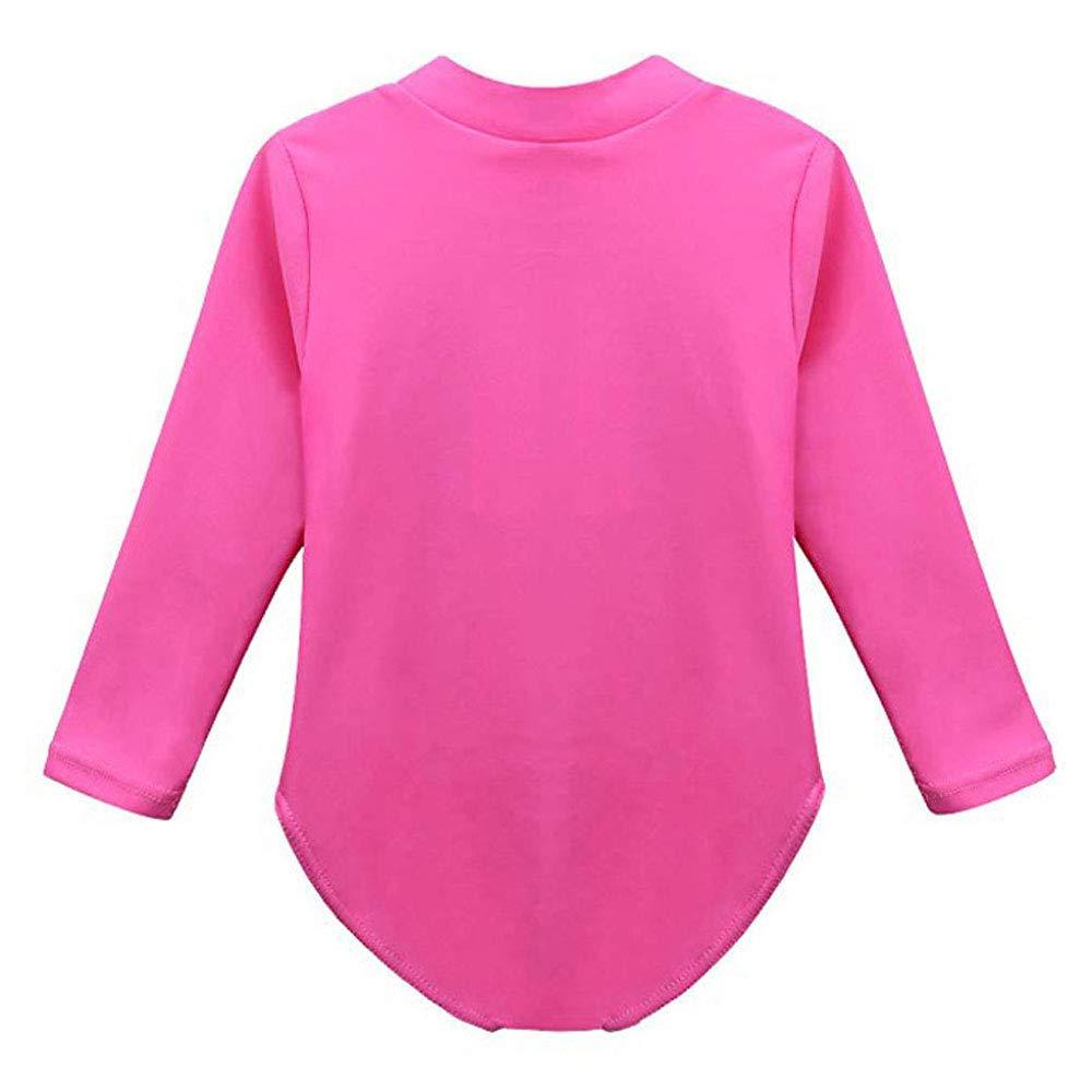 FASHION Kids Girls Rashguard Swimsuit UV 50 RS Long Sleeve One Piece Swimwear