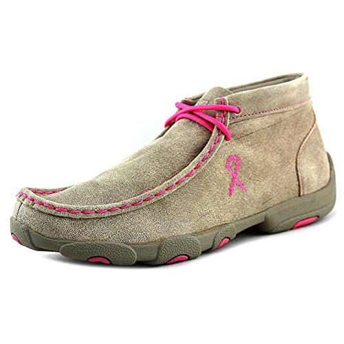 Twisted X Youth's Leather Lace-up D Toe Driving Moccasinss - Bomber/Neon Yellow Dustry Tan/Neon Pink