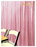 ShinyBeauty Sequin Backdrop 6FTX9FT-Pink,Sequin Backdrop Curtain Photo Booth Wedding Props(6FTX9FT)