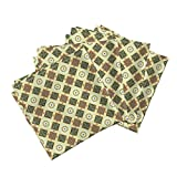 Roostery Tile Organic Sateen Dinner Napkins Classic Geometric in Greens by Unseen Gallery Fabrics Set of 4 Cotton Dinner Napkins Made