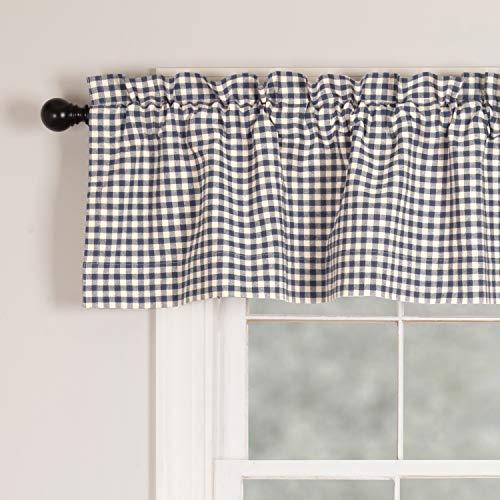 Piper Classics Doylestown Blue Gingham Check Valance Curtain, 16
