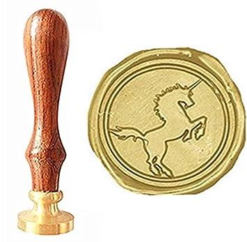MNYR - Tarjetas de regalo de unicornio heráldico, diseño vintage con sello de cera y