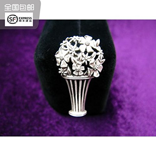 (TKHNE Turn box Cat produced exquisite small flowers antique silver tie pin brooch pin badge 501)