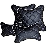 Pegasus Premium Black and Silver Double Quilted Combo Set - Car Cushion Set + Car Neck Rests (Set of 4 Pieces) for All Cars