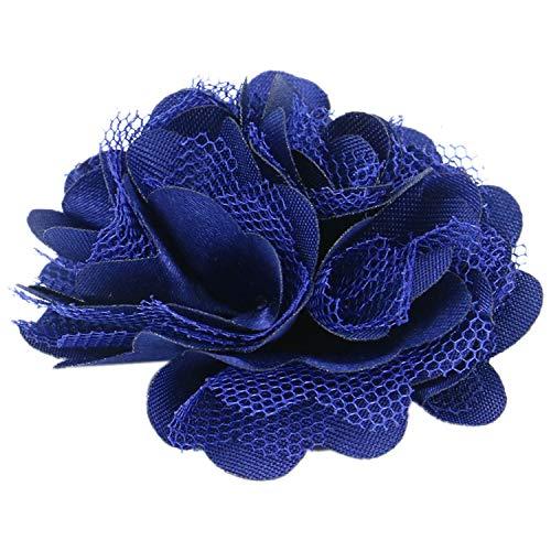 Monrocco 16 PCS Navy Blue Lace Chiffon Peony 3D Fabric Flowers for DIY Crafts Headbands Hair Accessory