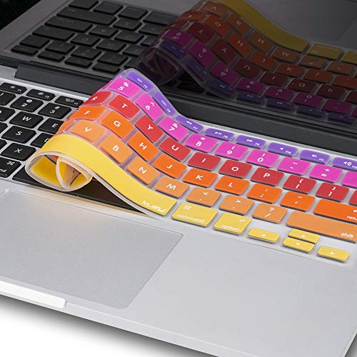 Kuzy - MacBook Keyboard Cover for Older Version MacBook Pro 13, 15, 17 inch and MacBook Air 13 inch, iMac Wireless Keyboard, Apple Computer Accessories Key Board Silicone Skin Protector - Ombre Orange