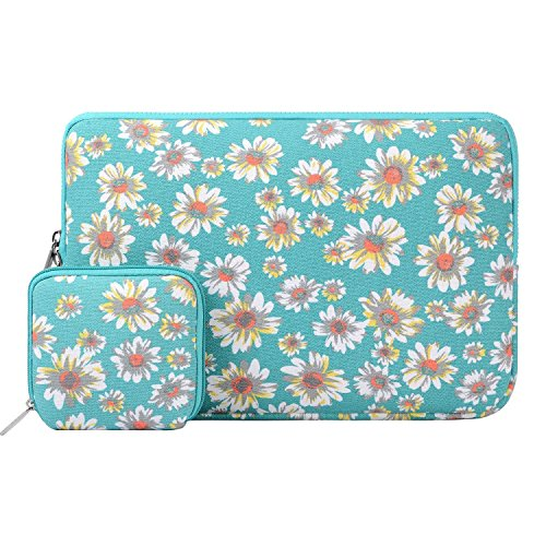 Mosiso Bohemian Style Canvas Fabric Laptop Sleeve Case Bag Cover for 15-15.6 Inch MacBook Pro, Notebook Computer with Small Case, Hot Blue Golden Aster